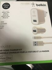 NEW Belkin MixIt Car+Home Charger Kit 12W 2.4AMP 1.2M 4FT Lightning Cable