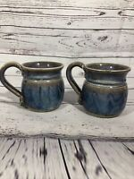 Handmade Pottery Blue Stoneware  Coffee Tea Mugs Signed Set of 2 Preowned Pretty