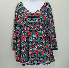 Eye Candy 2X Shirt Top Blouse Swing Style Red Blue Abstract V Neck Stretch Aztec