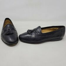 SANTONI ITALY BLACK LIZARD CALFSKIN LEATHER TASSEL MOC LOAFERS MENS SIZE 10 EE