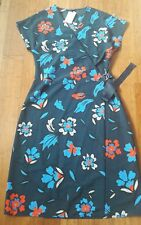 BEAUTIFUL NAVY BRIGHT FLORAL WRAP DRESS SIZE 10 TALL NEW FROM NEXT
