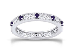 Round Cut Gemstone Stackable Ring in 14K White Gold Over Sterling Silver