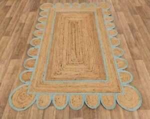 Rug Jute 100% Handmade Rectangle Carpet Braided 2x6 Feet Home Decor Look Rug