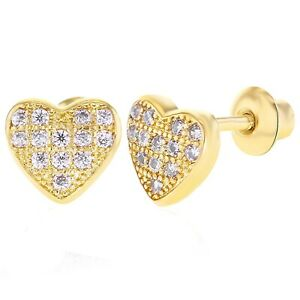 925 Yellow Gold Over Diamond Little Screw Back Baby Girl teen Heart stud Earring