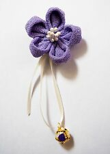 Handmade Cute Traditional Japanese Hair Clip Purple Pin Kanzashi Sakura Flower