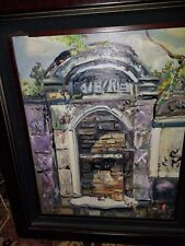 NEW ORLEANS OIL PAINTING OF VOODOO GRAVE IN LAFAYETTE CEMETARY #1