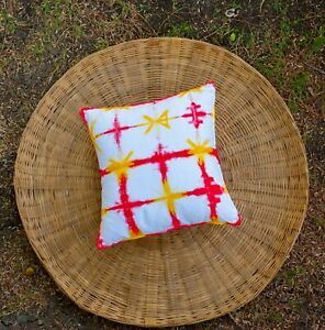 HueCoast Cotton Handcrafted Tie & Dye Red and Yellow colored Cushion Cover