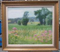 Louis Novak1928 Impressionist Flowers in Marsh Listed Massachusetts Artist