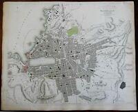 Marseille France street plan c. 1840 SDUK detailed antique city urban plan map