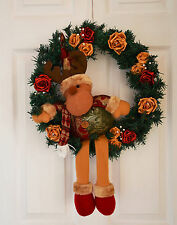 Christmas Reindeer Wreath with Burgundy and Gold Roses with Pearls