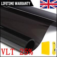 Black Car Privacy Glass Window Tint Film Reduce Sun Glare 25% VLT 6m*50cm Kit UK