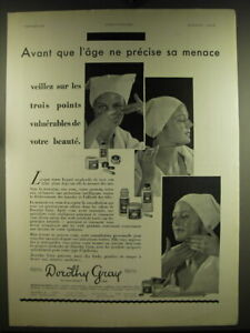 1932 Dorothy Gray Skin Care products Ad - in French - Avant que l'age ne precise