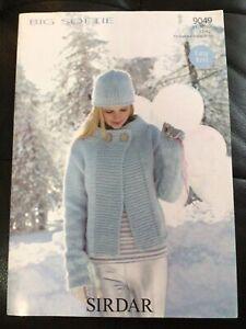 "Sirdar Big Softie Ladies Round Neck Jacket Knitting Pattern 9049 Sizes 32-42"""