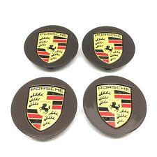 Set Of Genuine Porsche Brown Alloy Wheel Colour Crested Centre Caps