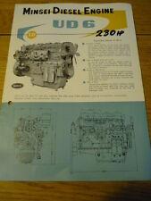 Intéressant, 1950's NISSAN minsei moteur marin brochure brochure JM