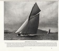 1897 VICTORIAN PRINT ~ YACHT RACING RIVER CLYDE CUTTER BRITANNIA PRINCE OF WALES