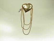 Schöne Herz Trachten Brosche 925 vergoldet mit  8 Zirkonias in Sternchenfassung