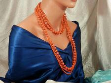 Vtg. 50's Unsigned Hong Kong Orange/Coral Plastic Flapper Length Necklace 1427o