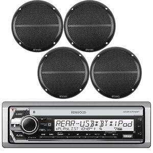 "Kenwood DIN Marine USB CD Bluetooth Receiver, 4x Black 6.5"" Full Range Speakers"