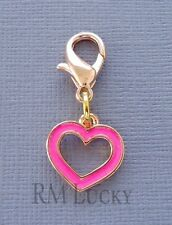 Charm Fit Link Chain Floating locket C146 Pink Heart Rose Gold Dangle Clip On