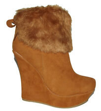 NW Camel Tan Faux Leather Suede Fur WEDGE PLATFORM WOMEN ANKLE BOOTIES Boots 8