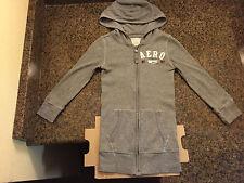 Aeropostale youth hooded hoodie zipper sweatshirt long sleeve thermal gray xs