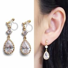 Bridal Cubic Zirconia Crystal Invisible Clip on Earrings Wedding Gold Clip-Ons