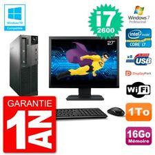 "PC LENOVO M82 SFF Screen 27 "" i7-2600 RAM 16Go Disk 1To DVD Burner Wifi W7"