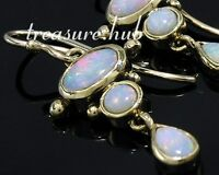 E080 EXQUISITE Genuine 9ct Yellow Gold Natural Opal Drop Dangle Earrings