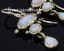 E080 EXQUISITE Genuine 9ct Yellow Gold Natural Opal Drop Dangle Earrings