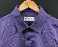 ROBERT GRAHAM Men's Flip Cuff Long Sleeve Purple Striped Button-Front Shirt sz L