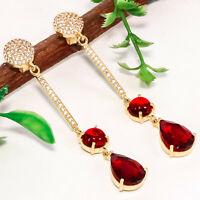 925 Solid Sterling Silver Gold Plated Garnet Earrings