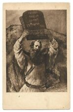 Judaica Germany rare Old Postcard Moses By Rembrandt Jewish Community