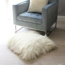 genuine ICELANDIC SHEEPSKIN LONG HAIR SHAGGY FLOOR EURO CUSHION COVER WHITE 60cm