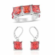 RUBY SIMULATED  & RED WHITE AUSTRIAN CRYSTAL SQUARE RING & EARRING SET 10 RUBIES