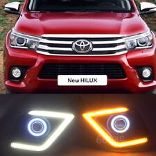 2x LED DRL Daytime Day Fog Lights+Angel Eyes kit For Toyota Hilux Vigo 2015-2016