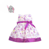 NEW Baby Girls 100% Cotton Summer Party Dresse Purple Floral SIZE 0/3M ONLY
