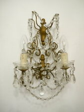 HUGE ITALY WALL LAMP SCONCE PEARLS CHAINS WOOD BRASS OLD 2 LIGHTS 2x