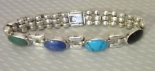 """turquoise lapis onyx malachite cabs 44g vtg 950 Silver Mexico Bracelet 7"""" chunky"""