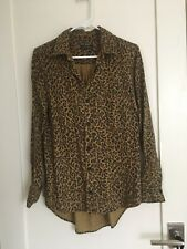 ZARA Woman leopard print button down shirt sz XS