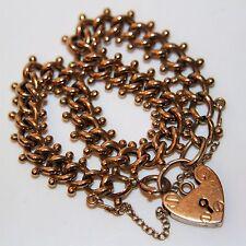 Fabulous Victorian 9ct Rose Gold Gate Padlock Bracelet
