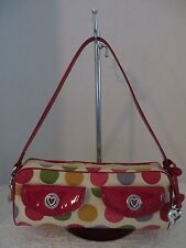 BRIGHTON MULTI COLOR POLKA DOT CANVAS FABRIC RED LEATHER SHOULDER SATCHEL PURSE