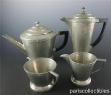 ANTIQUE ARGENT ART DECO HAMMERED PEWTER ENGLISH COFFEE TEA SET BAKELITE HANDLE