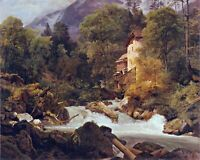 Mill at the outlet of the Königssee by Waldmüller. Canvas Fine Art. 11x14 Print