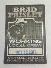 BRAD PAISLEY 2012 VIRTUAL REALITY TOUR SATIN BACKSTAGE PASS NEW