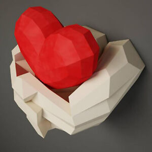 30min Complete DIY 3D Hands with Heart Paper Sculpture Papercraft Puzzle Toy TP