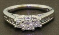 14K WG elegant 1.15CTW Princess diamond 3-stone wedding/engagement ring size 7