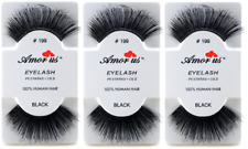 3 Pairs AmorUs 100% Human Hair False Long Eyelashes # 199 compare Red Cherry