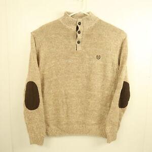 Ralph Lauren Chaps Mens Sweater Size XL Brown Button Collar Elbow Patches Jumper