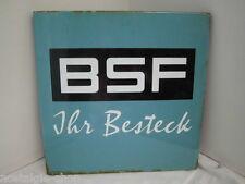 BSF Ihr Besteck altes Emailleschild  Werbung Schild  rare
